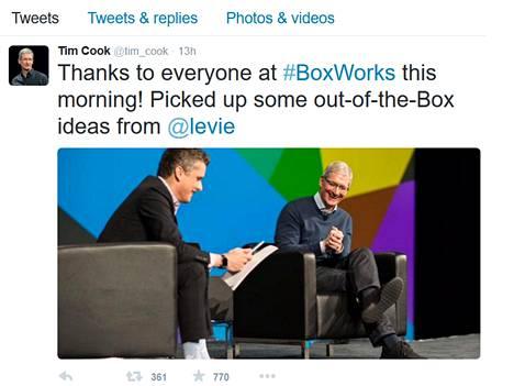 Tim Cook tviittasi BoxWorks-konferenssista.