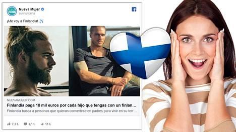 Naistenlehti Nueva Mujer mainostaa, miten Suomi tunnetaan yhtenä maailman onnellisimmista maista.
