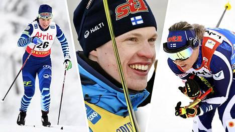 Hiihdossa Suomen joukkueeseen kuuluvat muiden muassa Krista Pärmäkoski (vas.), Iivo Niskanen ja Riitta-Liisa Roponen.