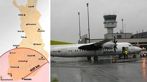 Tampere-Pirkkalan lentokenttä on yksi kentistä, joille tutkimuksen näkökulmasta ei kannattaisi lentää Helsingistä.