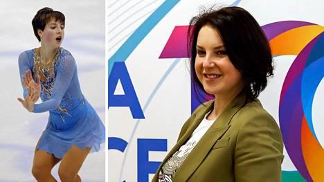 Vasemmalla Irina Slutskaja Salt Lake Cityn olympialaisissa 2002, oikealla kuva hänestä tämän vuoden maaliskuussa.