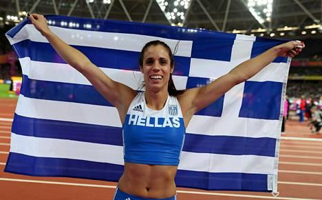 Ekaterini Stefanidi voitti naisten seiväshypyn MM-kultaa.