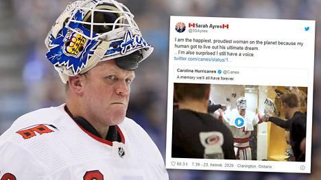David Ayres debytoi NHL-jäällä 42-vuotiaana. Vaimo Sarah Ayres jännitti miehensä unelman toteutumista katsomossa.