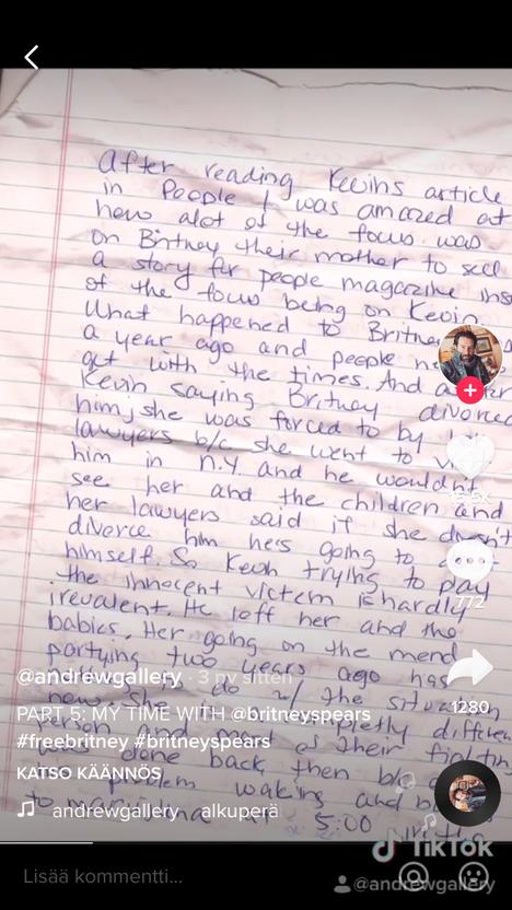 Gallery väittää kirjeen olevan Spearsin kirjoittama.