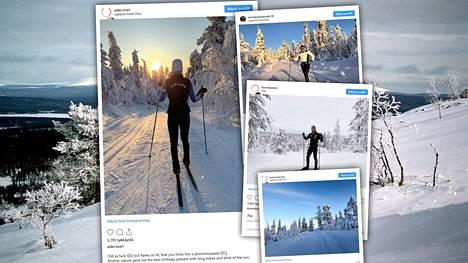 Suomalaishiihtäjät nauttivat Lapin lumesta ja pakkasesta.