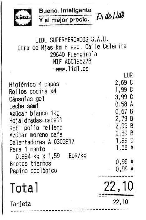 Lidlin kauppalasku. Vessapaperia, maitoa, valkoista sokeria, luomukurkkua, leivonnaisia, täytetty kanarulla... 22,10 euroa.