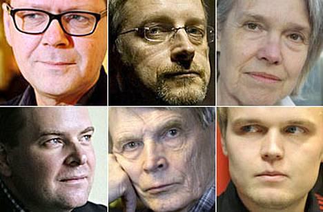 Finlandia-palkinnosta kilpailevat Kari Hotakainen (ylh. vas.), Marko Kilpi, Merete Mazzarella, Tommi Melender (alh. vas.), Antti Hyry ja Turkka Hautala.