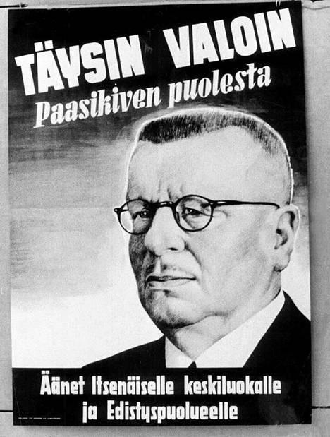 Paasikiven vaalijuliste vuodelta 1950. Neuvostoliitolle Kekkonen alkoi tuolloin tuntua mieluisammalta vaihtoehdolta.