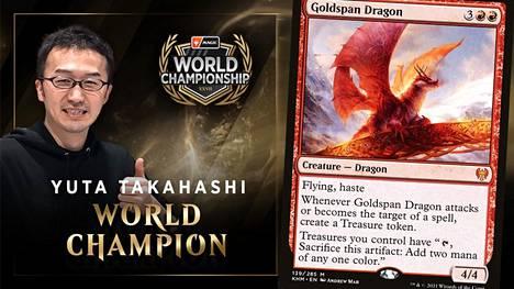 Yuta Takahashi on pitkäaikainen Magic-pelaaja, jonka lapsuudenunelma kävi toteen 35-vuotiaana. Goldspan Dragon oli yksi hänen käyttämänsä Izzet Dragons -pakan korteista.