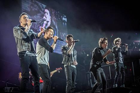 Vuonna 2013 One Direction -yhtyeeseen kuuluivat Harry Styles (vas.), Zayn Malik, Niall Horan, Louis Tomlinson ja Liam Payne.