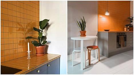 Johanneksen keittiö on tasoja ja seiniä myöten kaakeloitu.
