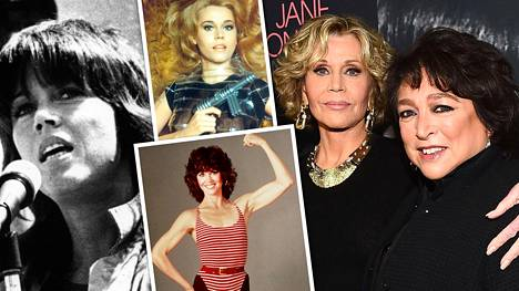 Jane Fondan eri vaiheita: 1960-luvulla hänet tunnettiin seksisymbolina (kesk. yläkuva), 1970-luvulla poliittisena aktivistina (vas.) ja 1980-luvulla aerobic-ohjaajana (kesk. alakuva). Oikealla Fonda ja hänestä kertovan dokumentin ohjaaja Susan Lacy.