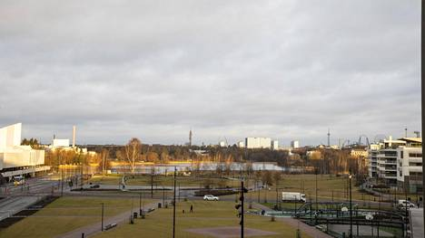 Helsingin Töölönlahti tammikuussa.