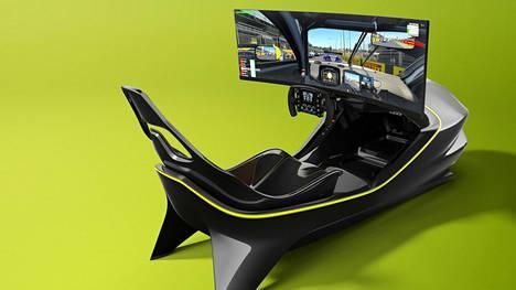 Simulaattorin ajotuntumaan on haettu mallia Aston Martin Valkyrie -hyperautosta.