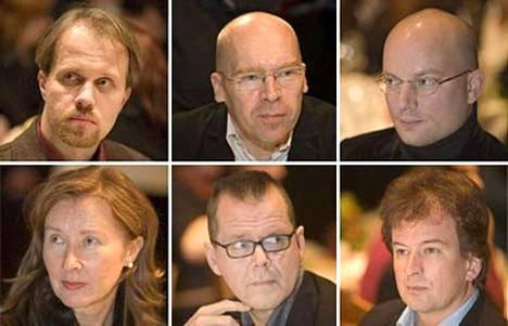 Petri Tamminen (ylh. vas.), Robert Åsbacka, Markku Pääskynen, Taina Sampakoski, Kari Hotakainen ja Kjell Westö.