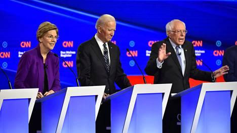 Elizabeth Warren, Joe Biden ja Bernie Sanders ovat vahvoilla demokraattien presidenttiehdokaskilvassa.
