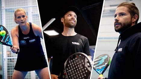 Tennistä ja squashia yhdistelevä padel on noussut suosioon Suomessa. Kuvassa Ella Leivo, Mikko Hermans ja Eemeli Jokinen.