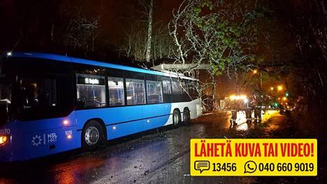 Mänty kaatui myrskyssä bussin päälle sunnuntai-iltana klo 20.20 Espoon Järvenperän puistotiellä.