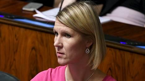 Kokoomuksen kansanedustaja Sari Multala eduskunnan suullisella kyselytunnilla Helsingissä 31. tammikuuta 2019.