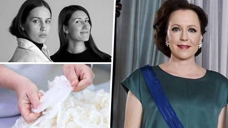 Jenni Haukion puvun on suunnitellut Emma Saarnio, työparinaan kankaan suunnitellut Helmi Liikanen.