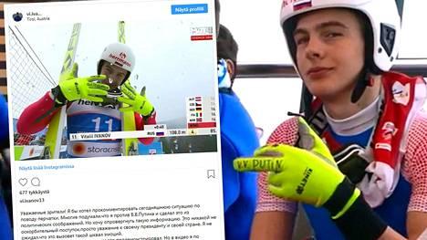 Vitali Ivanov kuvattiin odottamassa hyppyvuoroaan perjantain kisassa. Venäjän Svetogorskista (entisestä Suomen Ensosta) kotoisin oleva yhdistetyn urheilija kommentoi huomiota herättänyttä elettään Instagram-tilillään myöhemmin.
