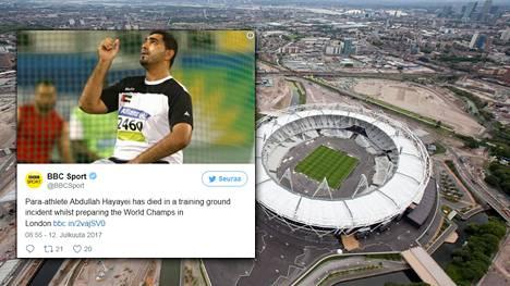 Parayleisurheilun MM-kisoihin Englannissa valmistautunut heittäjä Abdullah Hayayei on kuollut harjoituksissa Lontoossa.