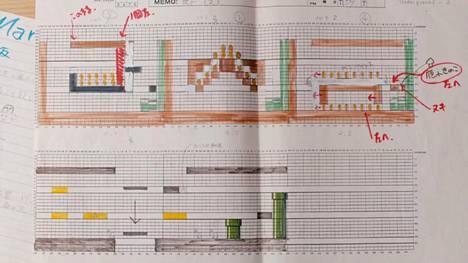 Ennennäkemättömän pelin tekeminen vaati aikaa ja huolellisuutta. Nintendon suunnittelijat piirsivät kentät ensin ruutupaperille, josta koodaajat sitten jäljensivät käsityöt digimuotoon. Kuvakaappaus Nintendon YouTube-vidolta.