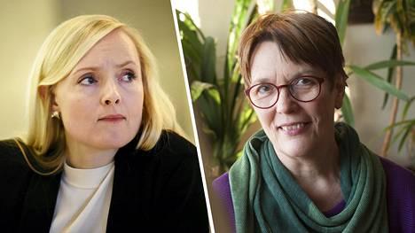 Vihreiden puheenjohtaja Maria Ohisalo ja kansanedustaja Satu Hassi.