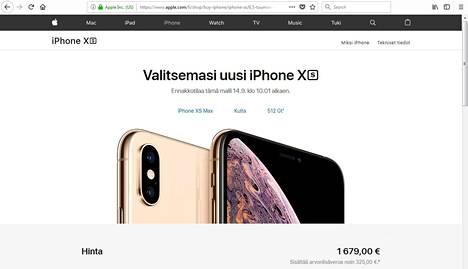 IPhone XS Max maksaa kalleimmillaan 1679 euroa. Kuvakaappaus Applen verkkokaupasta.