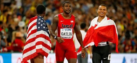 Trayvon Bromell (vas.), Justin Gatlin ja Andre De Grasse.