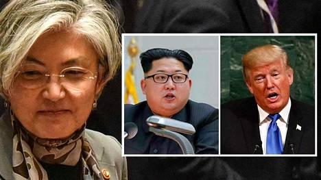 Etelä-Korean ulkoministeri Kang Kyung-wha (vas.) vaatii Yhdysvaltoja auttamaan jännitteiden lieventämisessä Pohjois-Korean kanssa.
