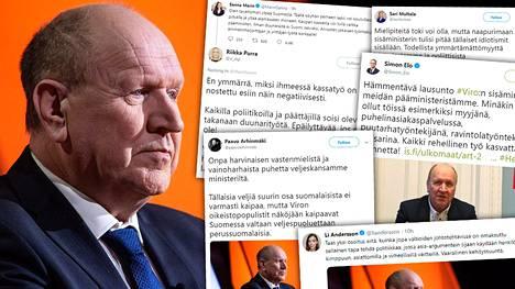 Suomalaiset poliitikot ovat tuomineet Viron sisäministerin Mart Helmen kommentit yli puoluerajojen.
