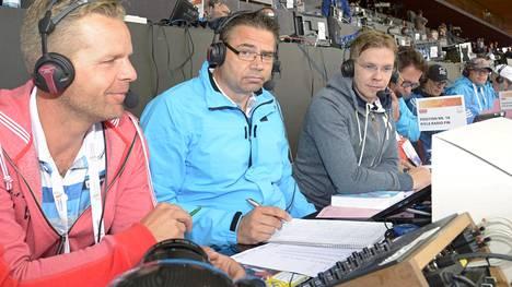 Mika Lehtimäki (kesk.) toimi Yle Urheilun yleisurheilulähetysten kommentaattorina vuosina 2007–16. Kuva vuoden 2014 Zürichin EM-kisoista.