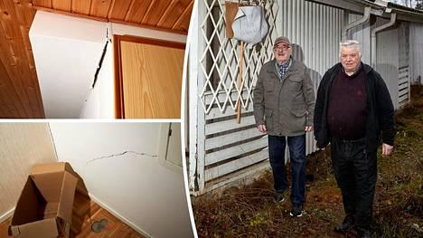 Sakari Jauhiainen ja Kalle Nikkilä ovat huolissaan vajoavan rivitalon tilanteesta.