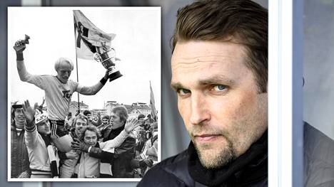 Jani Honkavaara toivoo, että Kuopioon syntyy sunnuntaina uusia jalkapallolegendoja. KuPSin viime mestaruus on vuodelta 1976, jolloin juhlittiin kapteeni Pekka Vepsäläisen (vas.) johdolla.