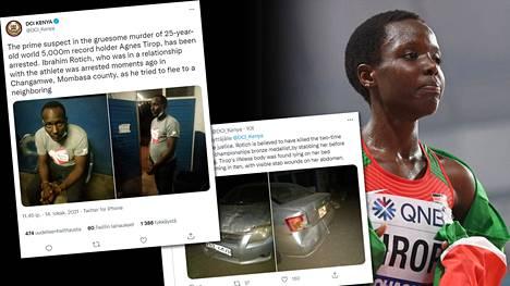 Kenian poliisi julkaisi Twitterissä kuvia huippujuoksija Agnes Tiropin (oik.) murhasta epäillystä aviomiehestä ja tämän pakoautosta.