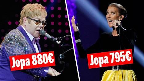 Elton Johnin ja Celine Dionin konsertteihin myydään tyyriitä vip-lippuja.