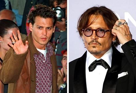 Johnny Depp vilkutteli faneille Ed Wood -elokuvan lehdistötilaisuudessa vuonna 1995. Oikealla Johnny tänä vuonna.