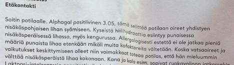 Kokeessa paljastuivat liha-allergian vasta-aineet. Kuvassa ote Kyrklundin lääkäriltä saamasta lausunnosta.