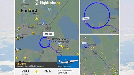 Kone pyörii Venäjän ilmatilassa vain muutaman kymmenen kilometrin ympyrää.