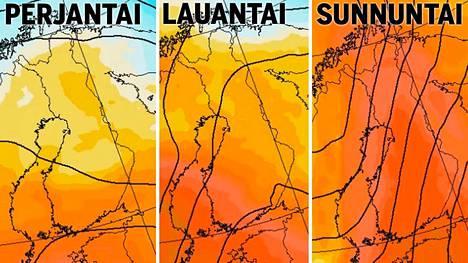 Ilmatieteen laitoksen karttakuvissa näkyy lämpömassojen vyöryminen Suomeen. Kuvissa tilanne noin kello 14.
