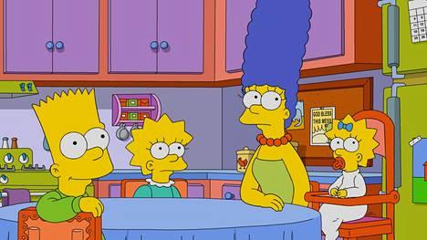 Simpsoneiden perheeseen kuuluvat Bart, Lisa, Marge ja Maggie-vauva. Perhepotretista puuttuu usein hölmöilevä Homer-isä.