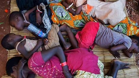 Lapset nukkuivat pakolaisleirillä Tansaniassa. Osa heistä on sairastunut koleraan. Kolareaepidemia puhkesi tällä viikolla. Naapurimaa Burundin väkivaltaisuuksia on paennut maasta yli 76000 ihmistä.