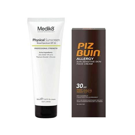 Medik8 Physical Sunscreen SPF 30 -suojavoide on yhdistelmä fysikaalisia suojia. Kevyt voide imeytyy nopeasti, 49 € / 90 ml. Piz Buinin Allergy Face Lotion SPF 30 -voide sopii erityisesti aurinkoherkälle, punoittavalle iholle, 18 € / 40 ml.