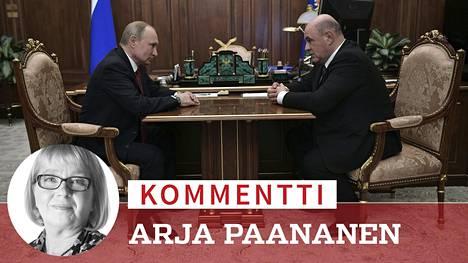 Vladimir Putin ja Mihail Mishustin Moskovassa keskiviikkona.