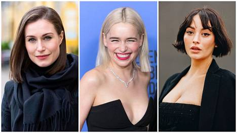 Sanna Marin vaihtoi polkkatukkaan. Myös Emilia Clarke ja Taylor LaShae viihtyvät pätkäistyssä mallissa.