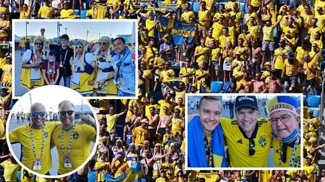 Ruotsalaisfaneja Pietarissa ottelussa Ruotsi–Slovakia perjantaina.