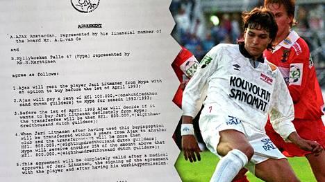 Jari Litmanen vauhdissa Suomen cupin finaalissa Jaroa vastaan vuonna 1992. Pian MyPan voiton jälkeen Litmanen siirtyi Hollantiin. Uutuuskirjassa julkaistun sopimuspaperin mukaan Ajax pulitti hänestä aimo kasan guldeneita.