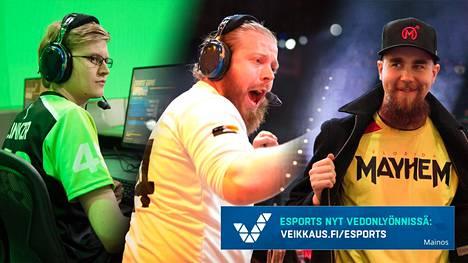 Jiri Masalin (vas.), Joona Laine (kes.) ja Joonas Alakurtti ovat kaikki Overwatch-ammattilaisia.