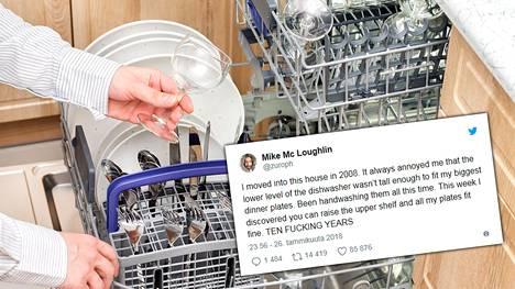 Perheenisä Mike Mc Loughlin arvioi tiskanneensa käsin noin 15 000 lautasta viimeisen 10 vuoden aikana – turhaan. Kuvituskuva.